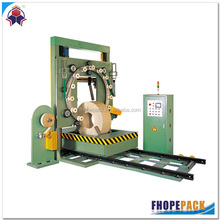 Stainless steel strip coil paper wrapping and film packing machine