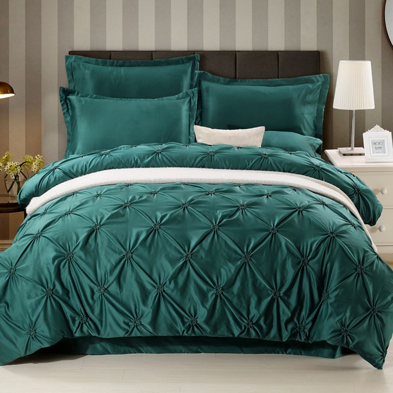 Soft US Size Solid Color Bed Sheet Bedding Sets silk Pinch-Pleat duvet cover sets