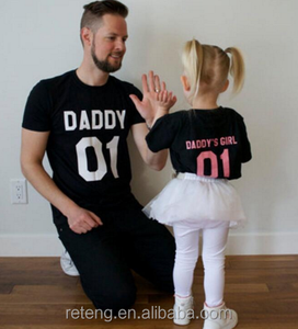 Latest OEM Plain Letter Printing Daddy Baby Matching Warm Family Casual Sweet Leisure Parent-Child Outfit T Shirts