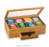Bamboo tea bag storage chest box with drawer