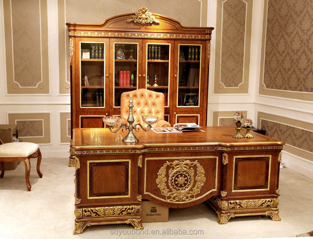 0062 european style luxury wooden executive office desk classic wood carving writing table Upscale home office furniture