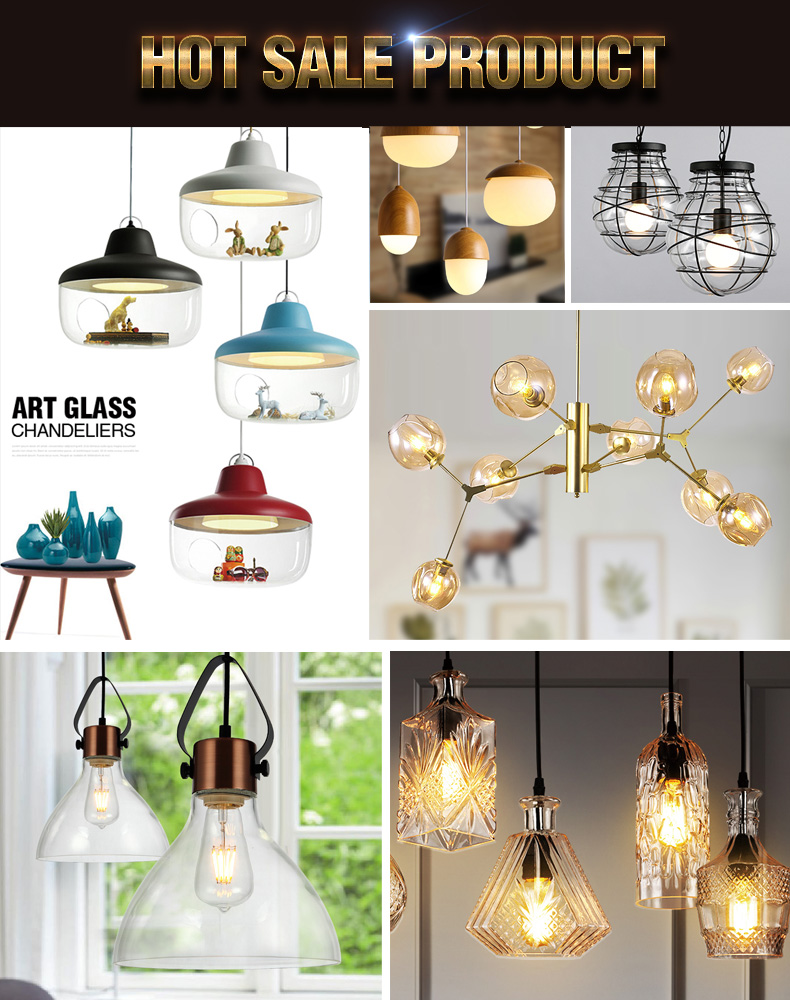 European retro bulb shaped hand blown glass chandelier hanging light
