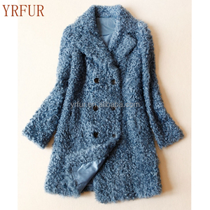 YR673 YRfur High quality Female New Fashion Real Curly Lamb Fur Topcoat Custo made Baby Sheep Skin Fur Coat