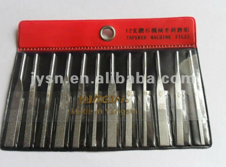 12 PC DIAMOND TAPER MACHINE FILES IN 4 GRITS, L70MM -TOOLMAKER LAPPING TOOLS