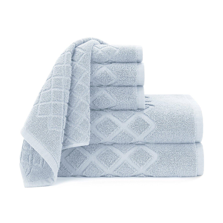 Briarwood Home Diamond Jacquard 6 Piece Bath Towel Set, 100% Soft Fade Resistant Cotton Bath Towels Hand Towels and Washcloths, Cashmere Blue