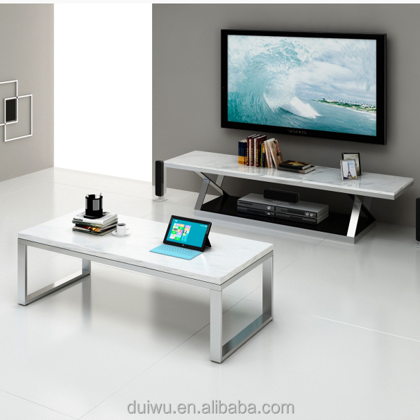 Modern living room detachable white marble top tv stand