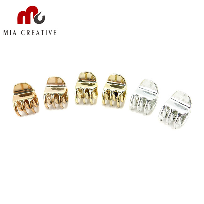 6pcs Mini Gold And Silver Plastic Hair Claws for Women