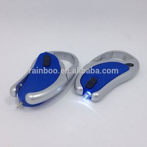 logo printed cheap plastic rotational led light keychain with pen and carabiner
