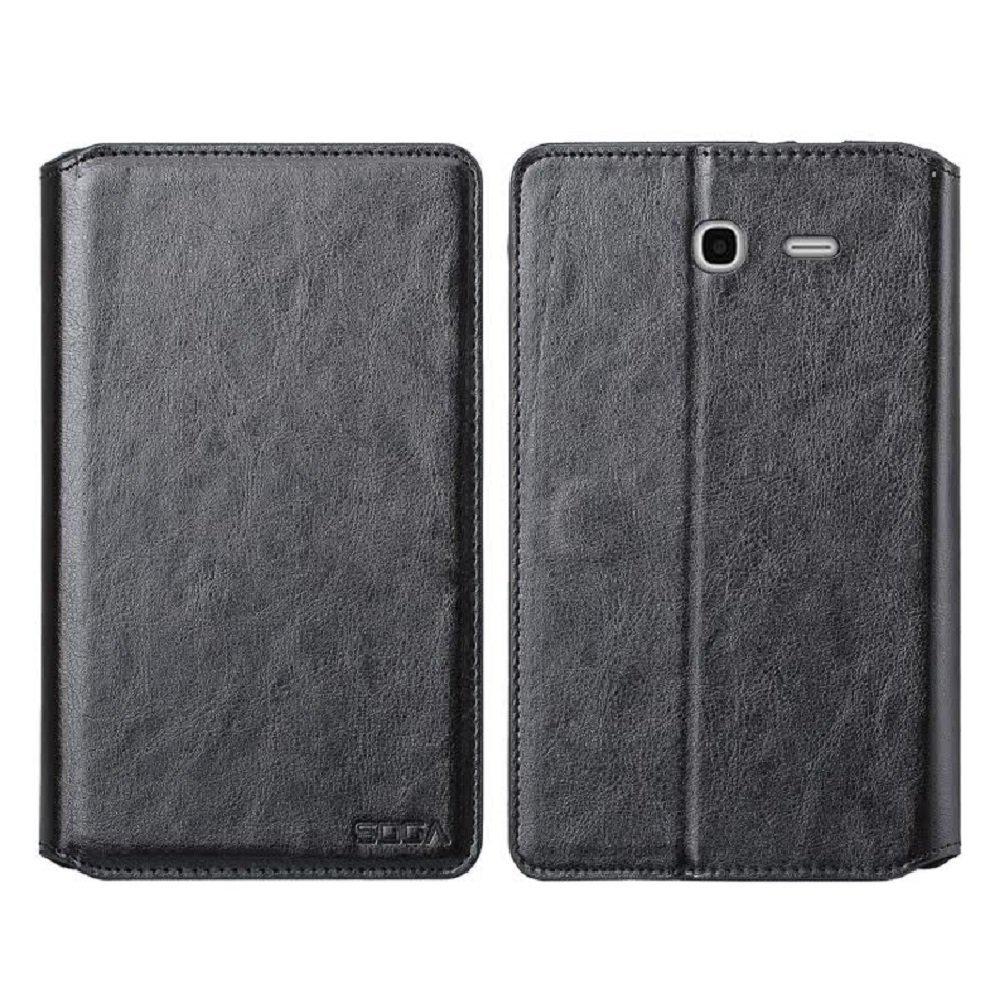 Alcatel Pop 7 LTE Case, Alcatel One Touch Pop 7 LTE Wallet Case, SOGA [Pocketbook Series] PU Leather Folio Flip Wallet Case for Alcatel One Touch Pop 7 LTE - Luxury Black