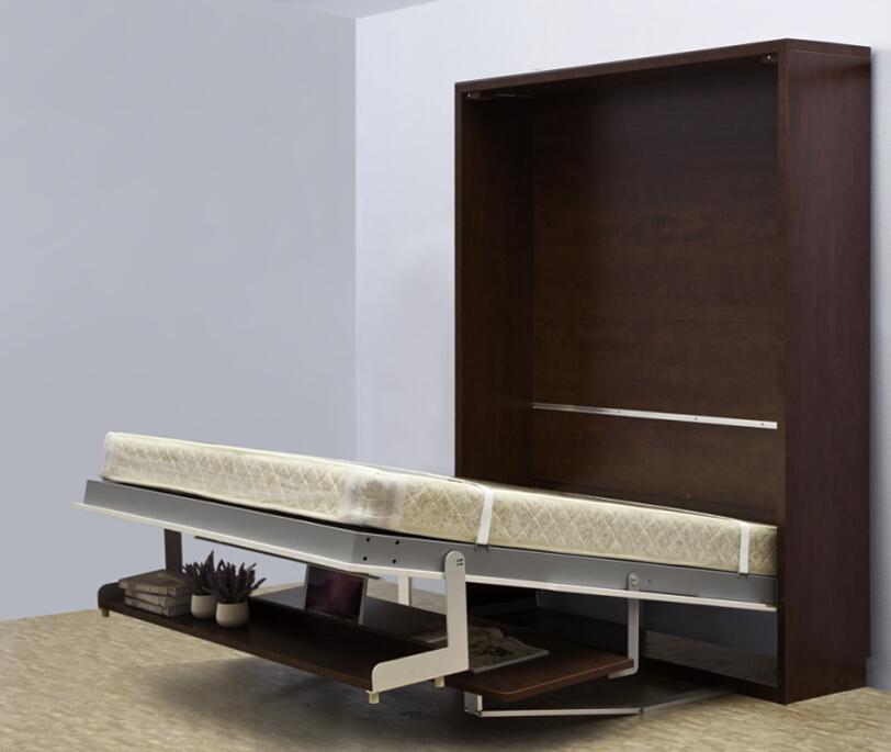 Hoge kwaliteit houten vouwen muur bed verborgen muur bed murphy bed met bureau en plank pull - Bed na capitonne zwarte ...
