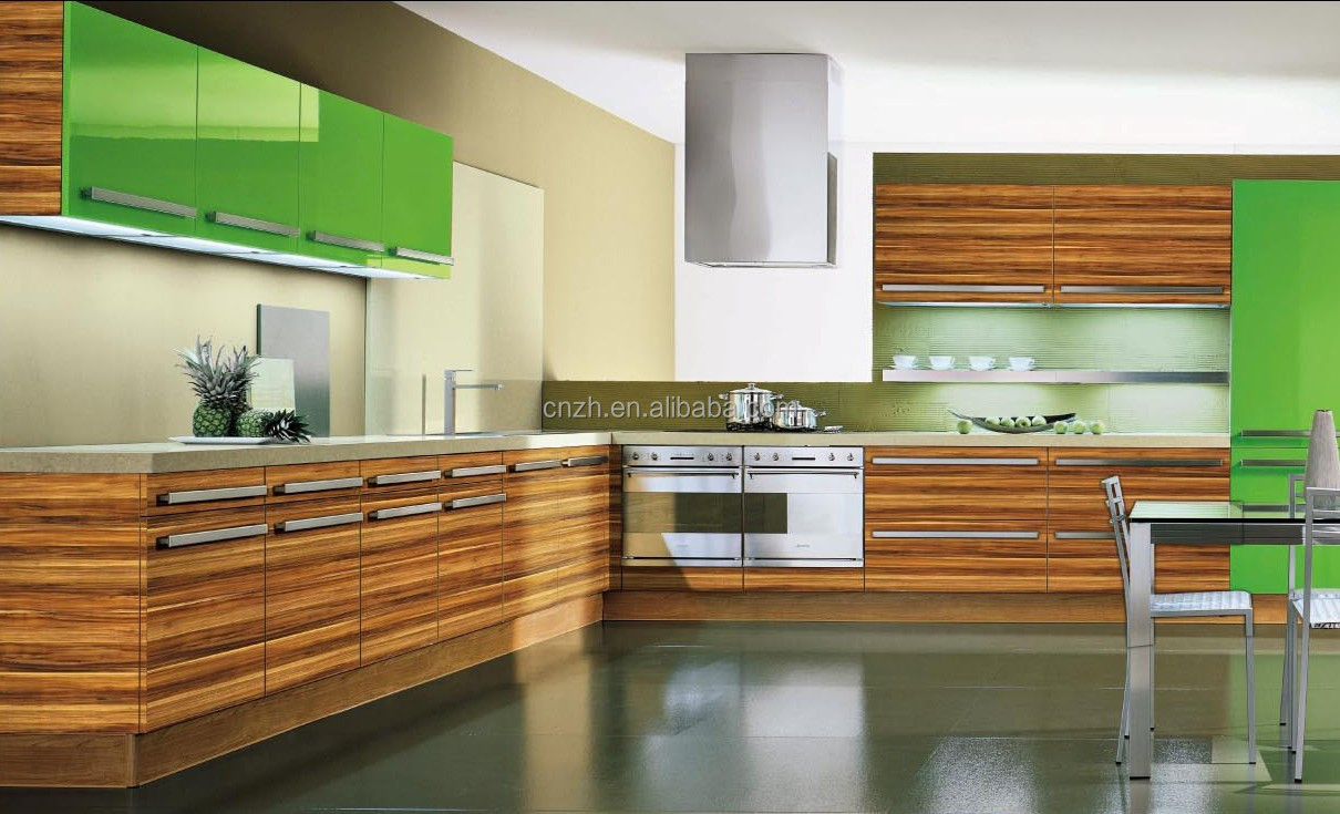 High End Fiber Woodgrain Laminated Kitchen Cabinet With Uv Painting