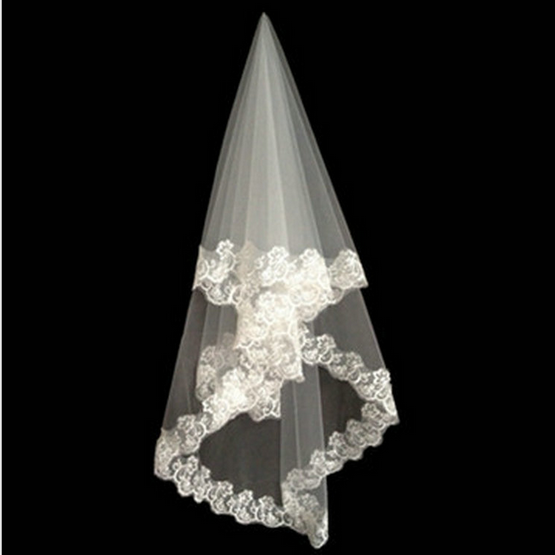 1a1fa28e27a8 New Style White Long Lace Trim Bridal Veil   Wedding Veil - Buy Lace ...
