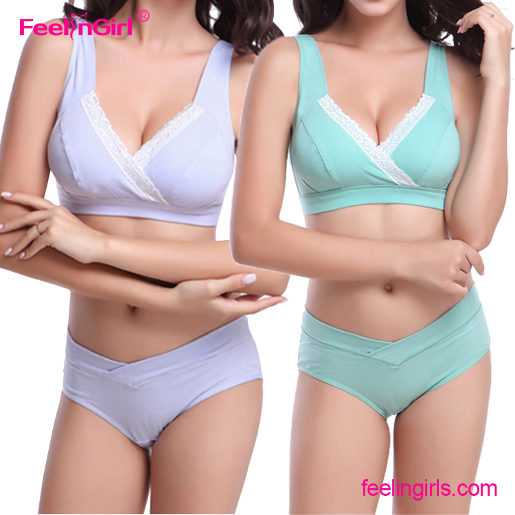 Cotton purple bras set two-piece sexy undergarments for ladies