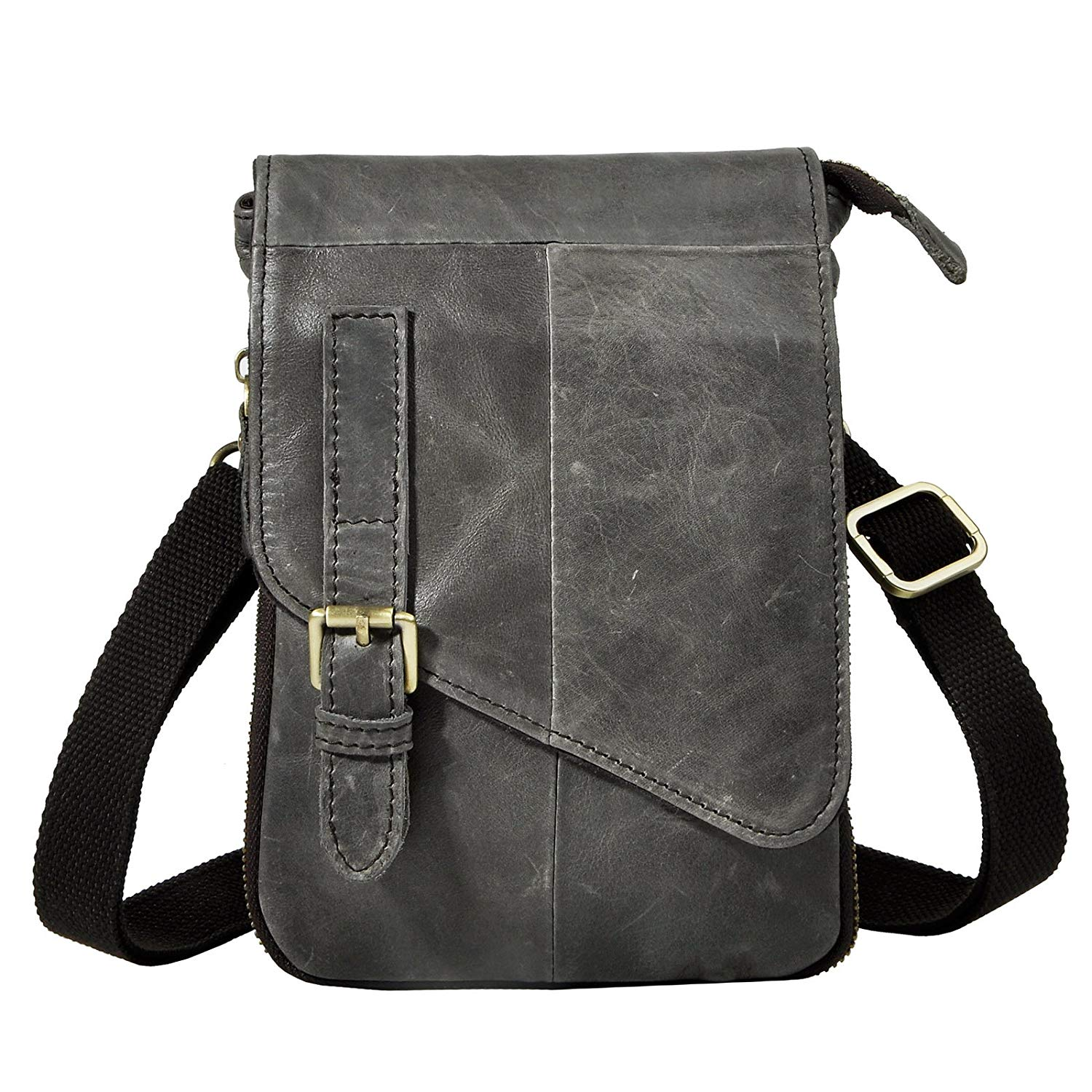 Get Quotations · Le aokuu Mens Genuine Leather Coffee Fanny Small Messenger  Shoulder Waist Bag Pack (The fd46789dd5fab