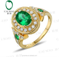 Wholesale Jewelry 18k Yellow Gold Natural 1.22ct SI Oval Shape Green Emerald 0.40ct Full Cut Diamond Engagement Ring