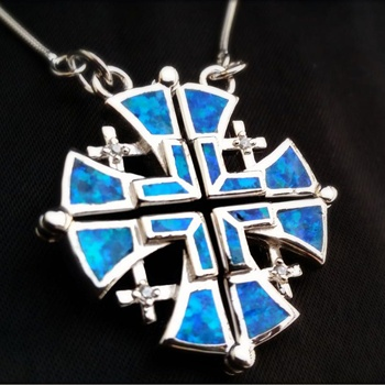Soild 925 Sterling Silver Pendant Jewish Jewelry Women Natural Blue Opal Cross Pendant