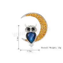Rhinestone Zinc Alloy Brooch women with Crystal Owl platinum color plated