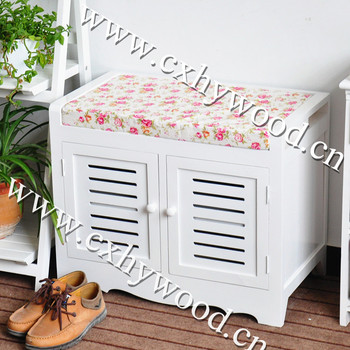 Multifunctional Shoes Storage Cabinet Wooden Shoe Bench With Cushion