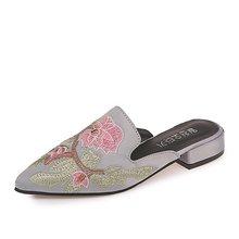 Женские туфли без задника, летние домашние тапочки в стиле ретро, лоферы без застежки, кожаные шлепанцы, черные женские туфли, 2020(Китай)