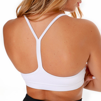 Custom logo high quality dry fit White Y shaped back Workout gym wear active crop top Fitness Removable Pads Yoga Bras