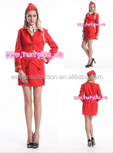 Ladies Stewardess Costume Adults Air Hostess Fancy Dress Womens Outfit