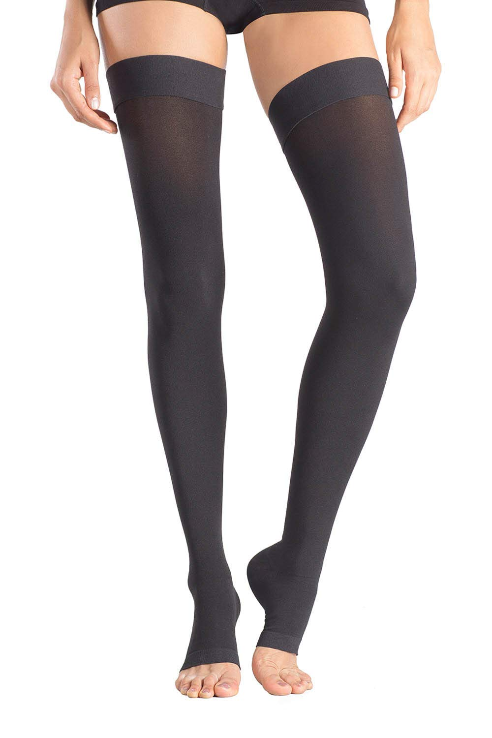 a647d462b23390 MD Thigh High Microfiber Opaque Compression Stockings Open-Toe Firm Support  23-32mmHg for