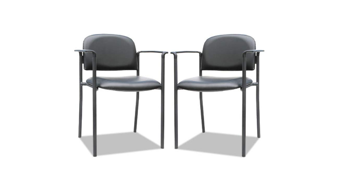 Guest Chair with Arms Alera Sorrento Series Stacking Faux Leather, Black K&A Company