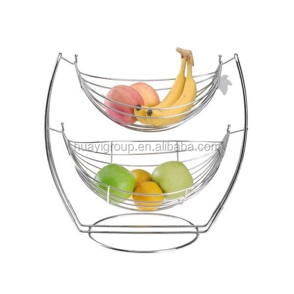 Hammock Swing Fruit Basket Double Bowl Metal Stand Countertop Display Home Decor