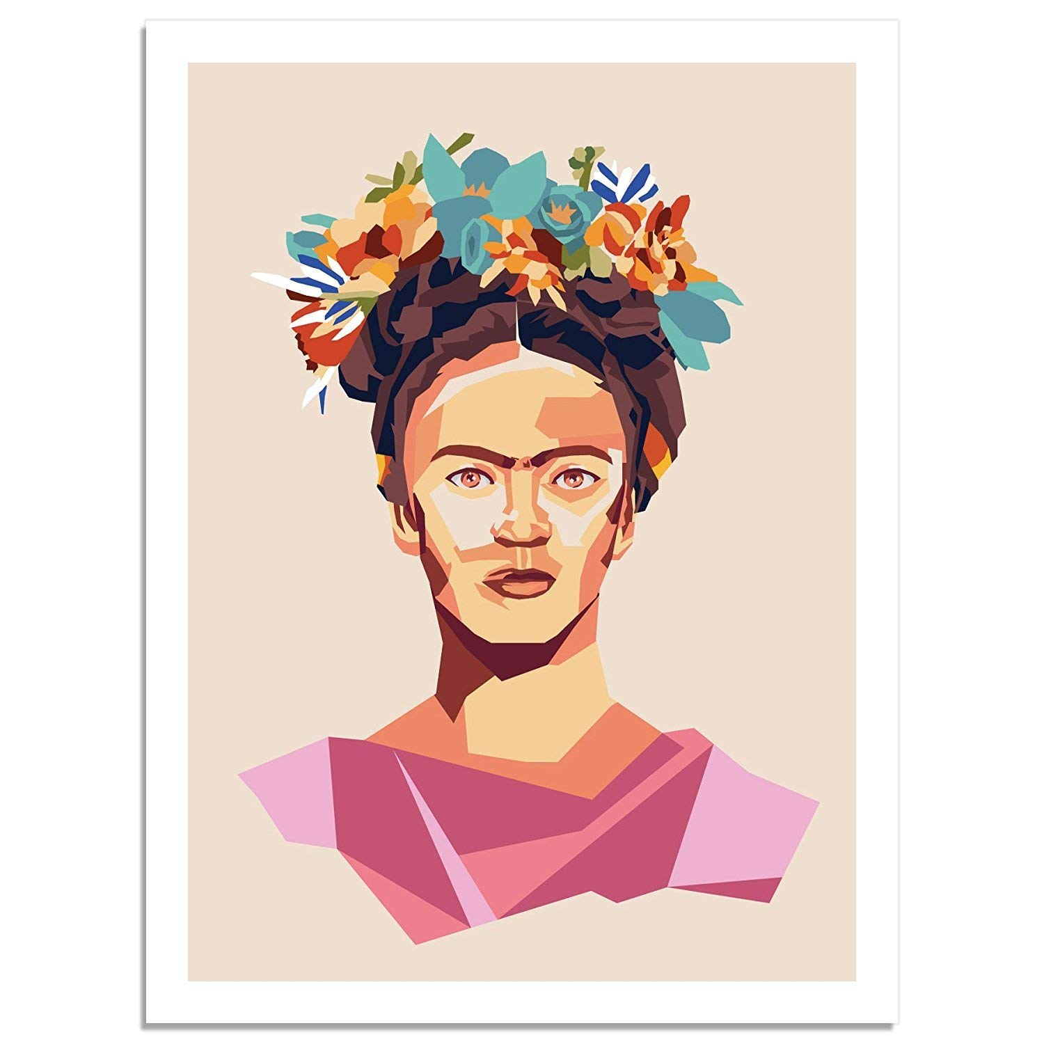 Kindred Sol Collective Graphic Art Poster Print of Frida Kahlo Portrait Wall Art Poster Decor for Living Room Mexican Culture Inspiration