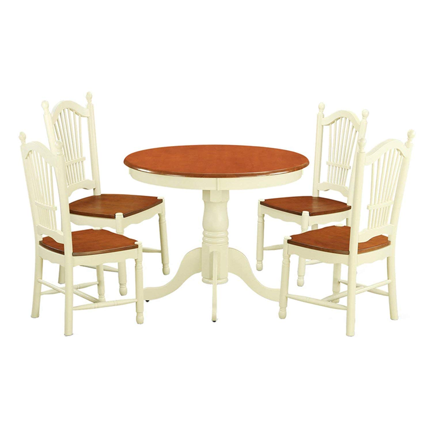 5 Piece Round Dining Table Set with Wooden Seat Chairs, Buttermilk/Cherry Finish, Sleekly Structured, Sturdy Pedestal Base, Solid Asian Hardwood, Chic and Elegant, Sturdy and Durable + Expert Guide