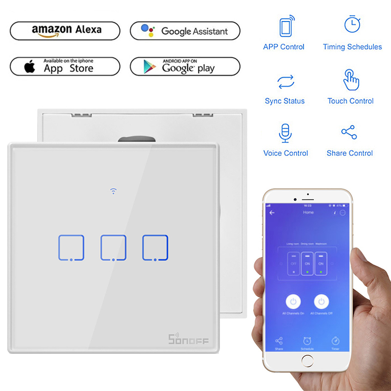 1 2 3 Gang Smart WiFi Panel Touch Switch Wall Remote Control Timer APP Alexa Hot