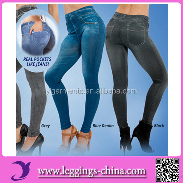 2015 ZMJ8242 Wholesale Newest Design Women's Seamless Fleece Lined Slim Jeans Jeggings Leggings With Real Pocket