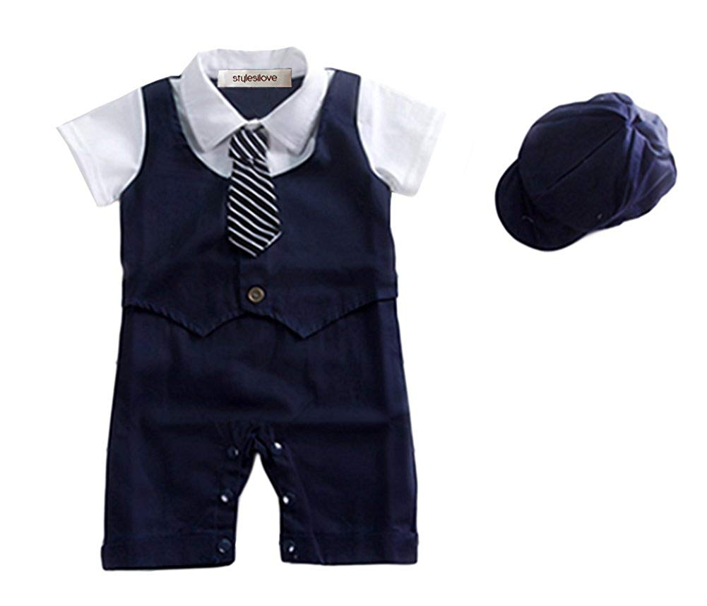 3829d55cf Get Quotations · stylesilove Baby Boy Formal Wear Romper and Hat 2-Piece