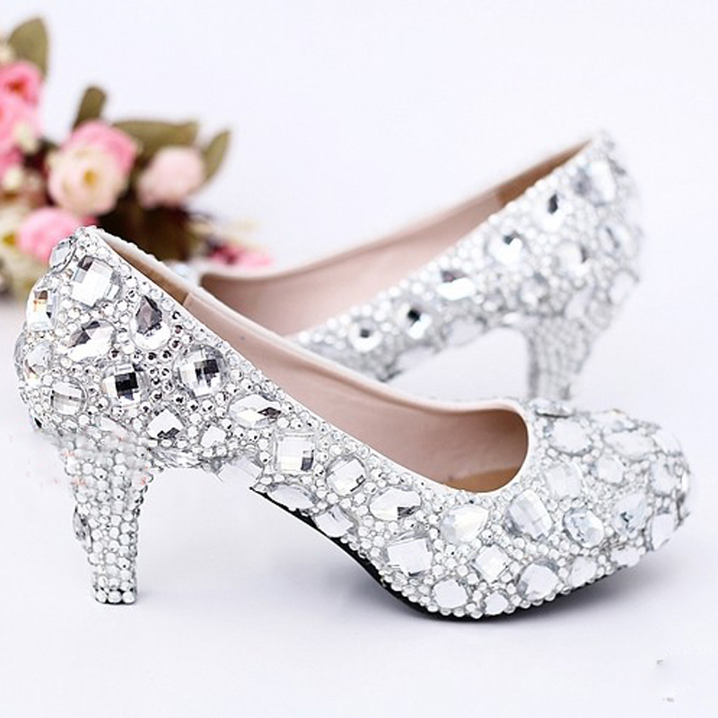 2015 Sexy Crystal Wedding Dress Shoes 5cm Middle Heel Comfortable Bridal Shoes Silver Woman Party Prom Shoes Bridesmaid Shoes