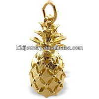Fashion Zinc Alloy Gold Plated 3D Pineapple Charms With Jump Ring