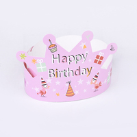 Customize Disposable White Cardboard Paper Party Decorations Supplies Crown Cap Happy Birthday Hat