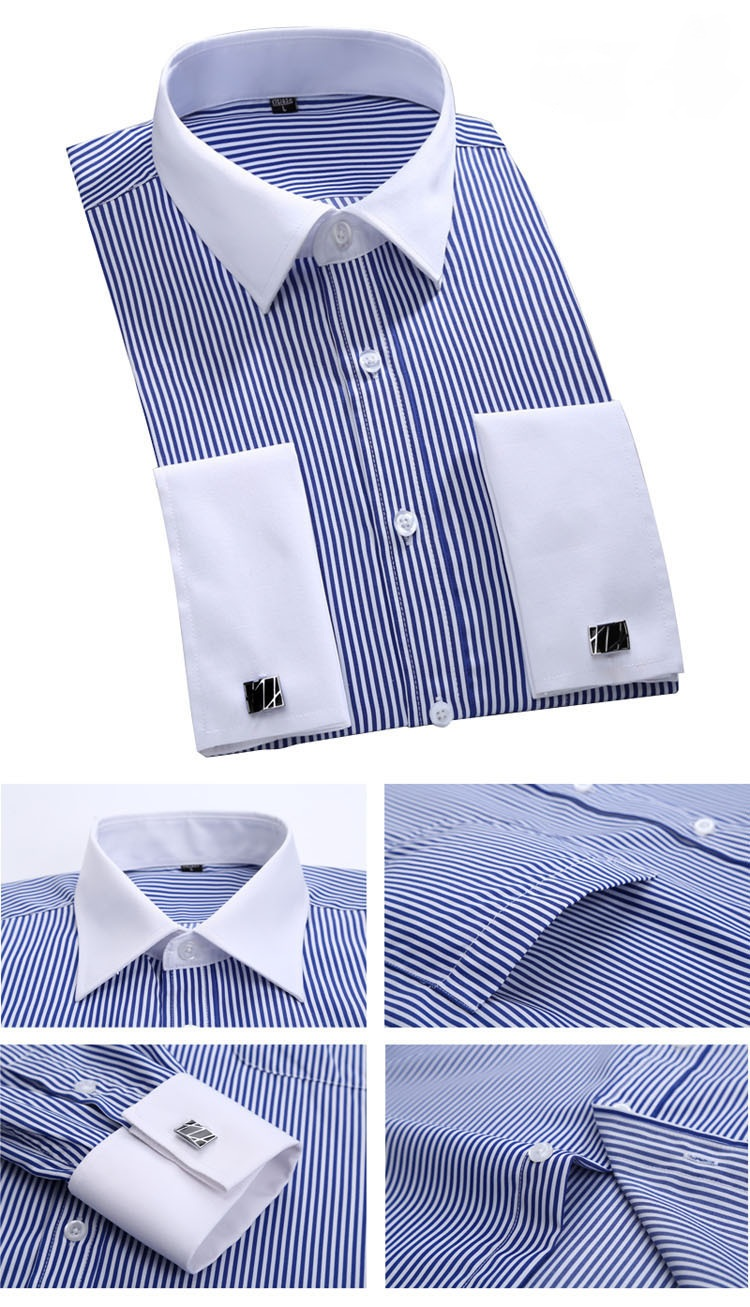 Contrast Collar And Cuff Different Color Slim Fit Dress Shirt With
