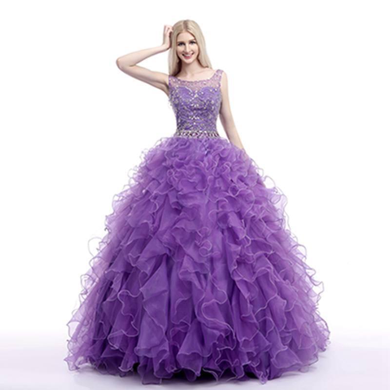 Hot sale luxury 0-neck bridal gowns floor length tank ball gown high end  slim fit plus size custom purple dress wedding garment