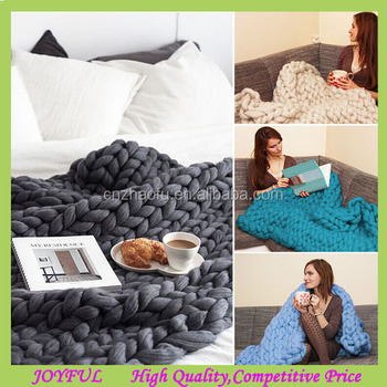Big Super Chunky Knit Blanket Throw Merino Wool Blanket