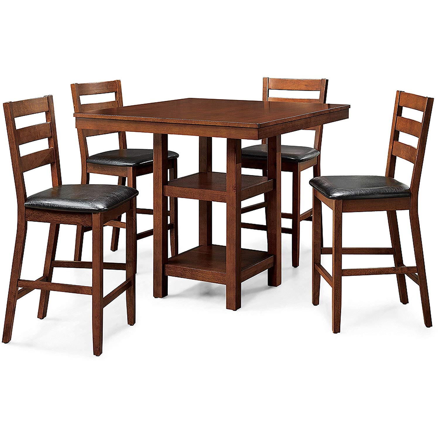 Sturdy 5-Piece Counter Height Dining Set, Includes Square Table and Four Padded Chairs, Sturdy Wood Construction, Open-Shelf Pedestal for Extra Storage, Easy to Clean, Mocha Finish