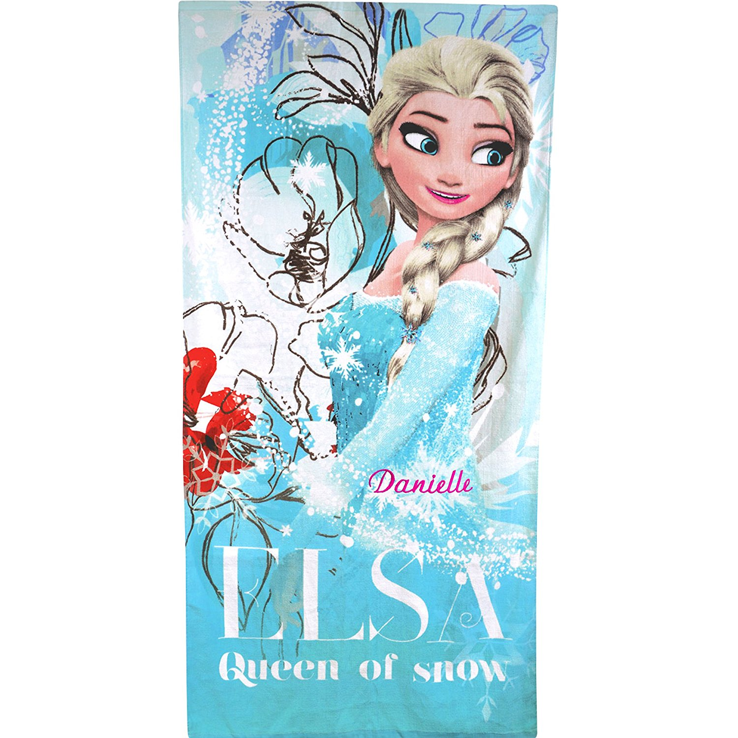 Personalised Disney Frozen Elsa Queen of Snow Super Soft Large Beach Towel