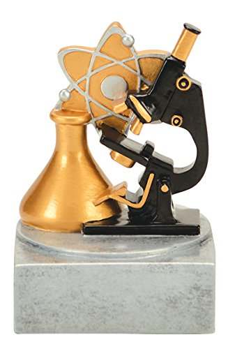 Science Color Tek Trophy - Color Microscope Award - School Trophies - Silver Base - Personalized & Engraved plate included - Decade Awards