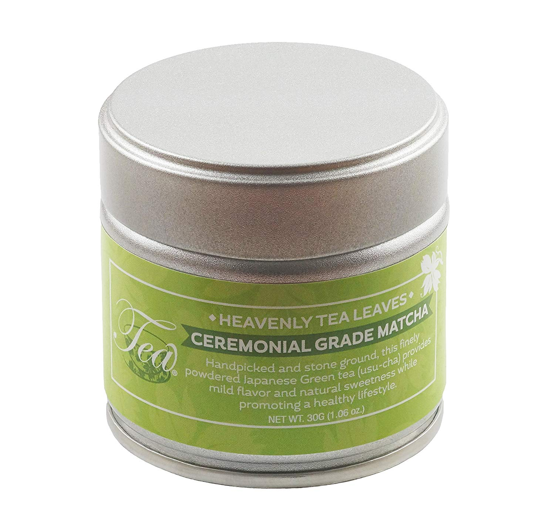 Heavenly Tea Leaves Ceremonial Grade Matcha Green Tea Powder, Stone Ground Japanese Green Tea - High in Antioxidants & Great Natural Energy Source - 30 Gram Tin