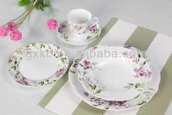 elegant newware shape ceramic porcelain dinnerware sets with purple flower (SHZ3746) & elegant newware shape ceramic porcelain dinnerware sets with purple ...