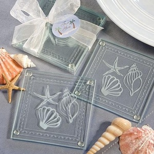 Wedding Favors Return Gift Beach Themed Glass Coaster