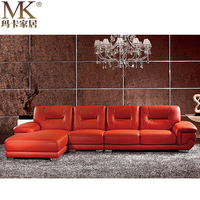 Used Wooden frame kuka heated leather floor sofa set , latest arabic majlis corner sofa design of living room furniture