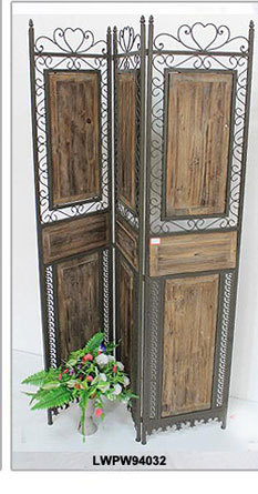Hand Painted Shabby Chic French Country Wooden Folding Screen Room Divider