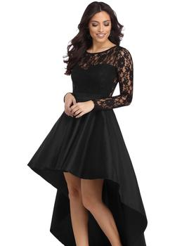 Wholesale Long Sleeve Lace High Low Fashion Dress