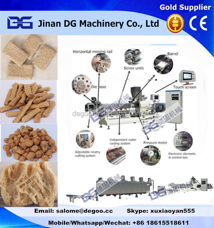 High quality Textured soya bean chunks processing machines from JInan DG Machinery