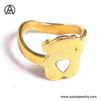 Azone jewelry plating 14K gold fancy bear shell finger ring